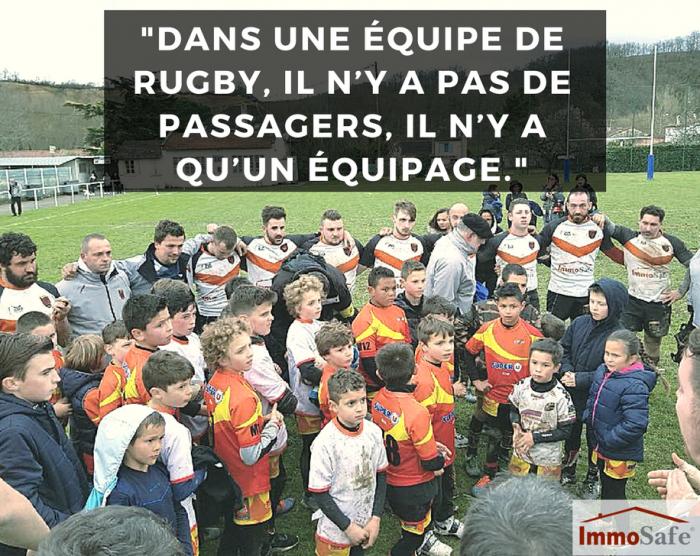 équipe de rugby RCL XV sponsorisée par ImmoSafe.